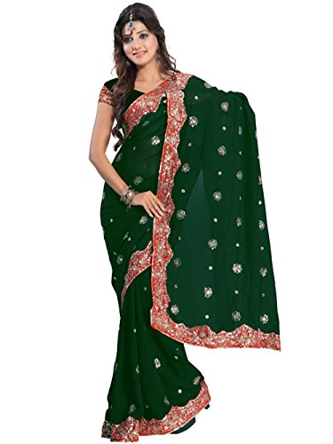 [Green Bollywood Wedding Sequin Sari Saree Costume Boho Panetar Belly Dance Indian Party Wear] (Bollywood Costume Party)