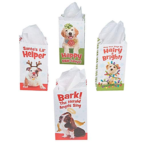 Best Price! Fun Express - Holiday Puppy Treat Bags for Christmas - Party Supplies - Bags - Paper Tre...
