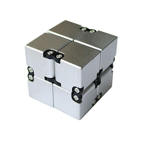 Price comparison product image Creazy Luxury EDC Infinity Cube Mini For Stress Relief Fidget Anti Anxiety Stress Funny (Silver)