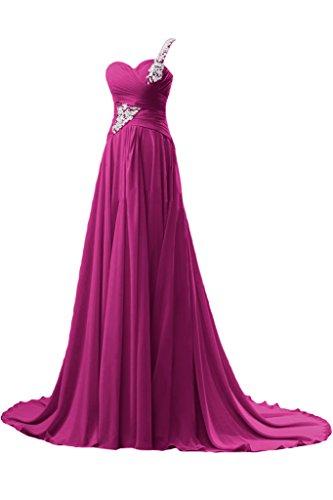 Festkleid Bride Ballkleid Gorgeous Lang Abendkleid Chiffon Schulter Elegant Fuchsia Linie Schleppe Ein A zqdqwfP