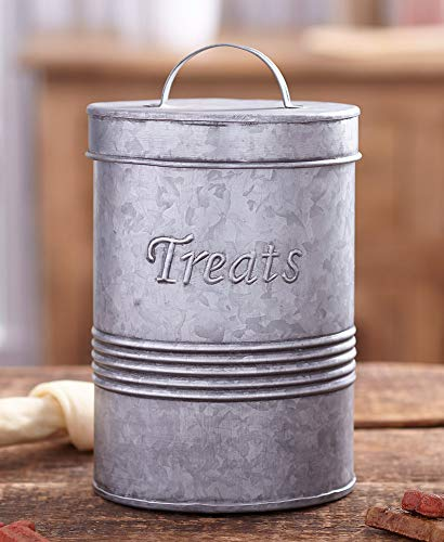 The Lakeside Collection Retro Metal Pet Treat Canister – Vintage Countertop Accent – Galvanized
