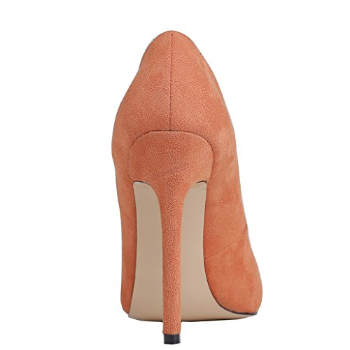 EKS - Merceditas de tacón alto Mujer Naranja - Orange-Suede
