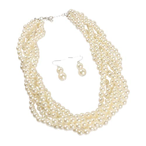 and Faux Pearls Beads Cluster Choker Necklace and Earrings Set (Beige) ()