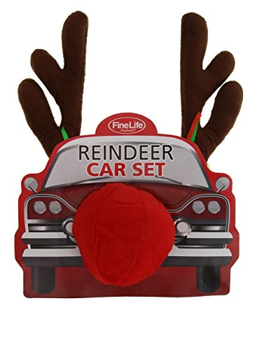Car Costumes For Your Car (Reindeer Car Costume Set- Antlers & Red Nose, Easy to Install)