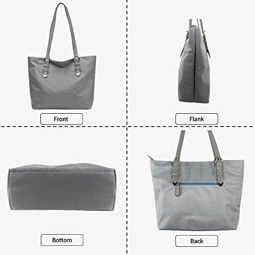 Large Nylon Tote Bags for Women,Women\'s Shoulder Handbags,Over the Shoulder Purse for Work (Light Grey)