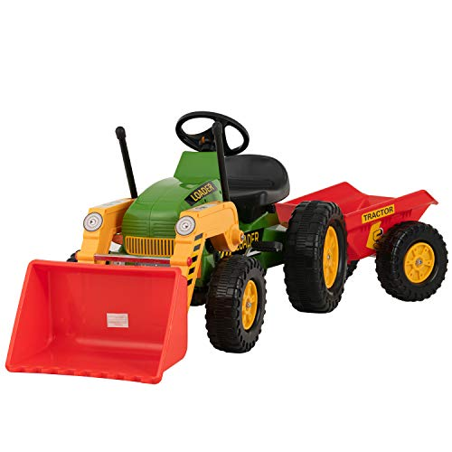 Uenjoy Kids Pedal Tractor Ground Loader Ride On Car Toy with Working Front Loader, Detachable Trailer, Horn, Adjustable Seat, Forward/Backward (Best Ride On Cars Tractor)