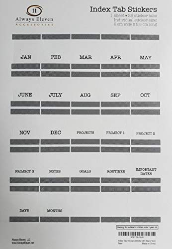 Index Tab Monthly Calendar Stickers for Planners, Agendas and Organizers (White with Black Text)