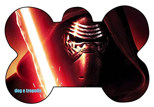 Star Wars Trooper Darth Maul Darth Talon Kylo Ren Logo Dog Pet Cat ID Tag Bone Shape Image Photo Personalized with Key Ring (Kylo Ren 1)