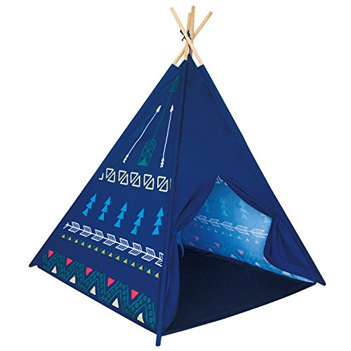 POCO DIVO Blue Arrow Teepee Indian Tribe Tipi Kids Indoor Playhouse Children Outdoor Toy Castle Play Tent with Wood - Hut The Indian
