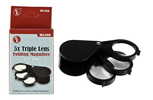 SE ML26B 5x Triple Lens Folding Magnifier with 1-1/4
