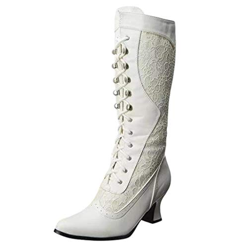 QueenMM Women's Rebecca Lace Heel Boot Victorian Boots Ivory White Mid Calf Boots Halloween Costumes Dress Shoes