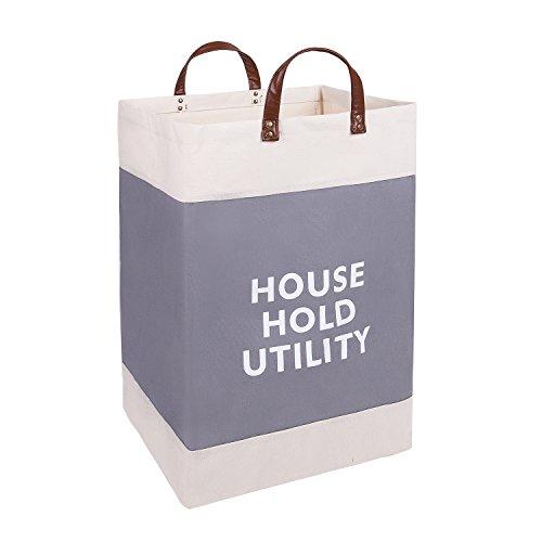 XDeer 100% Cotton Canvas Storage Basket, Household Storage Organizer Bin with PU Handle, Baby Toys Storage Bins, Shelf Storage Cubes for Living Room Cabinet,Inner Waterproof