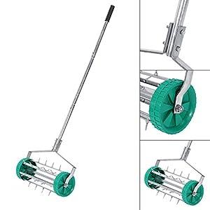 Yosoo Garden Lawn Aerator, Stainless Steel Heavy Duty Rolling Lawn Aerator Rolling Grass Roller Handle