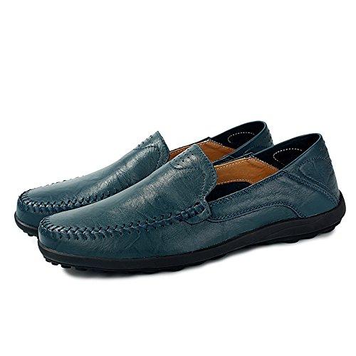 Go Tour Mens Premium In Vera Pelle Moda Slipper Casual Slip On Mocassini Scarpe Blue-c