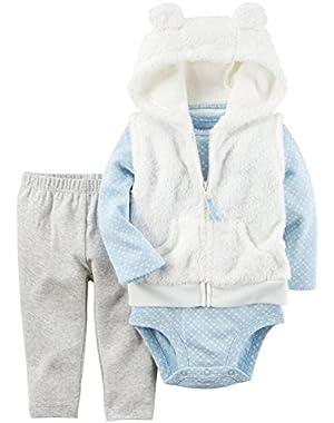 Baby Girls Vest Sets, Ivory, 18M