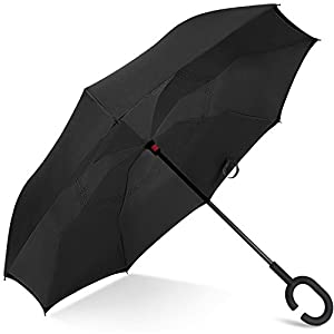 Rainlax Inverted Umbrella Double Layer Windproof Anti UV Protection Umbrellas for Car Rain Outdoor with C-Shaped Handle (Black,Black)