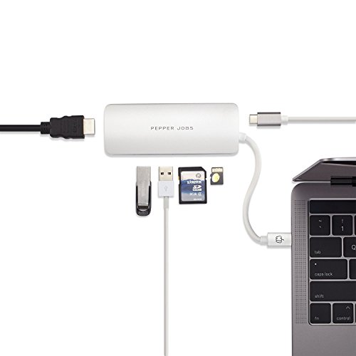 "Price comparison product image Pepper Jobs USB C 3.1 Hub to PD Port, HDMI Port,2 X USB 3.0 Port,TF/SD card reader Port,For Apple MacBook 12""/New MacBook Pro 15"" 2017/ChromeBook and More"