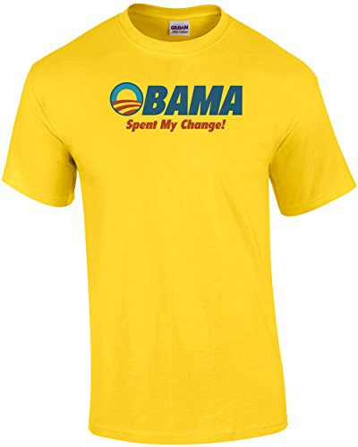 Change Yellow T-shirt (Obama Spent My Change Anti-Obama T-Shirt)