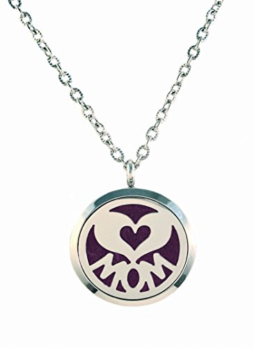 MOM-High-Quality-Aromatherapy-Essential-Oil-Diffuser-Necklace-Pendant-316L-Surgical-Stainless-Steel-24-inch-Chain-5-Reusable-Pads-Mothers-Day-Gift-Set