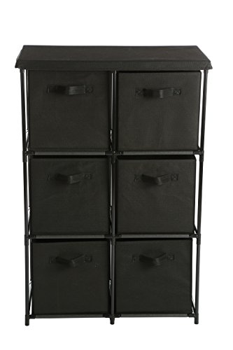Storage Black Drawers - Home-Like 6-Drawer Storage Organizer Unit Fabric Chest Cabinet 3 Tier Metal Shelves with 6 Non-Woven Collapsible Bins Ideal for Storing Clothing Underwear Jeans Documents Books Towers (Black)