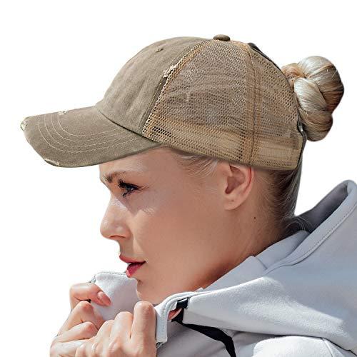 HH HOFNEN Women Ponytail Hat Washed Twill Cotton Baseball Cap Vintage Adjustable Dad Hat (#05 Khaki (Mesh Ponytail))