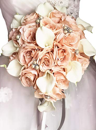 (Angel Isabella, LLC Build Your Wedding Package-Keepsake Long Lasting Artificial Flower in Blush Grey Bouquet Corsage Boutonniere (Tear Drop Cascade Bouquet) )