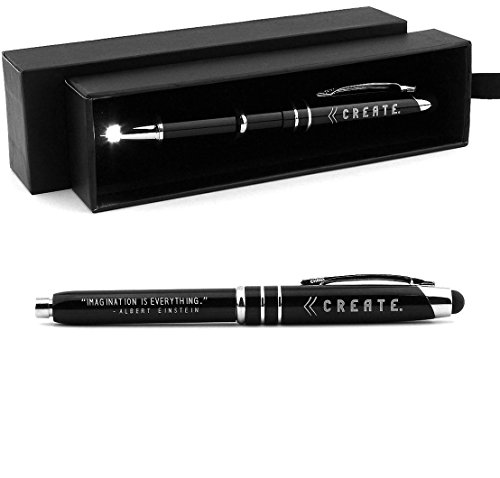 """CREATE"" Inspirational Stylus Pen Light w/ ""Imagination is Everything"" Albert Einstein Quote - Motivational Gift with Inspirational Message"