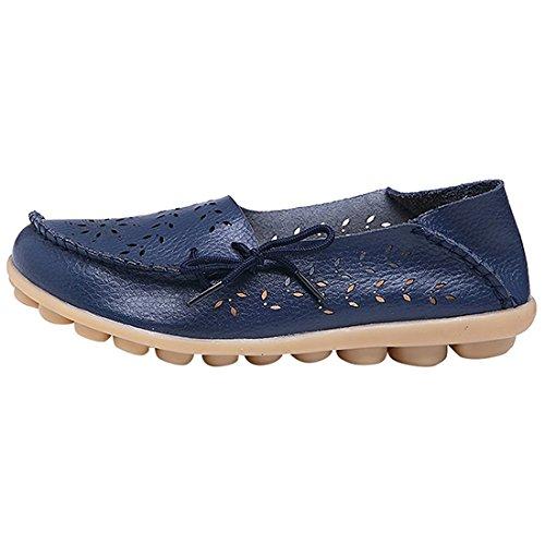 MORNISN Damen Leder Lace-up Casual Schuhe Flache Driving Loafers Dunkelblau (Blumen)