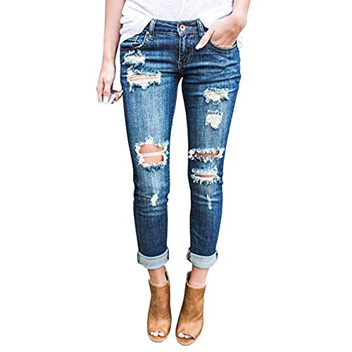 - Wisptime Women Jeans Skinny Ripped Jeans Stretch Distressed Pants Boyfriend Trousers (Blue, US 11)