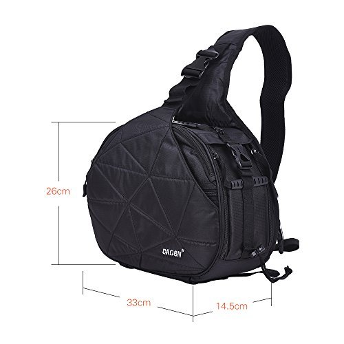 Andoer CADeN K2 Triangle DSLR Camera Bag Cross Sling Carry Case Shockproof Waterproof with Tripod Holder for Canon Nikon Sony Olympus Pentax (Black)