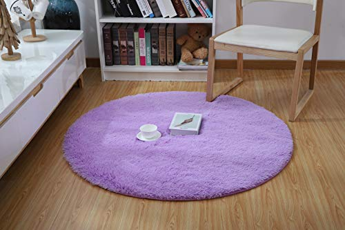 YJ.GWL Ultra Soft Round Purple Fluffy Area Rug for Girls Bedroom Anti-Slip Kids Nursery Carpet Children Room Decor 4 Feet