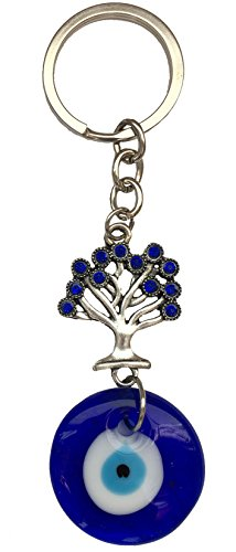 Ultimate Tree Decorated (Blue Evil Eye Keychain Ring for Protection and Blessing, Tree of Life Charm for Growth and Strength, Great Gift)