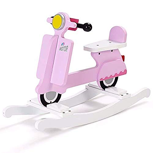- Kids Rocking Horse, Wooden Ride On Toy for Baby Toddler Boys & Girls, Motorcycle Rocker Chair Flat Seat (Pink)