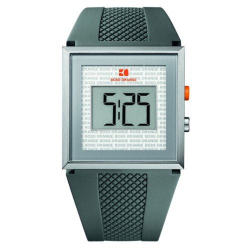 Hugo Boss Orange Digital Dial Grey Rubber Mens Watch 1512699