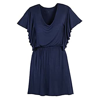 Beachcombers Women Solid Rayon/Spandex Jersey Dress Navy Large