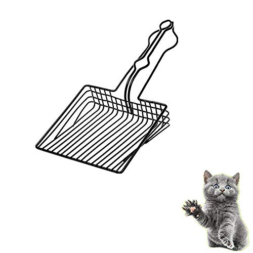 JUNCHUANG Cat litter scooper,Metal Scoop Kitten Toilet Cleaning Scoop,Deep Shovel with Durable Long Handle for Sifting and Cleaning Kitty Cats Litter