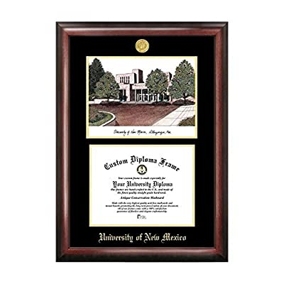 Campus Images Sports Team Logo Design University of New Mexico Gold Embossed Diploma Frame with Campus Images Lithograph