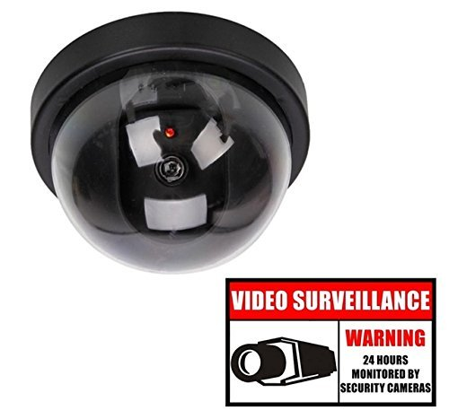 Security Cameras Fake Dome Surveillance Cameras Simulated Lens with Flashing LED Light Plus Security Warning Sign Decal Sticker ()