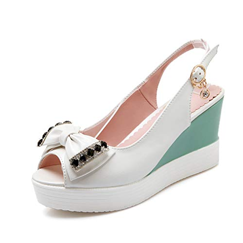 Women's Peep Toe Slingback Pump Sandals Rhinestone Cute Bowknot Slip On Platform Wedge Pump Shoes White