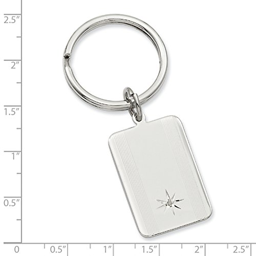 Jewelry Pot Rhodium Plated Stainless Steel Star Cut .001ct. Diamond Engravable Key Ring