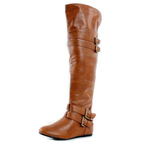 Womens Tan Biker Boots - 7