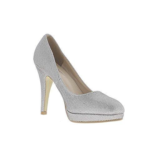 Escarpins gris silver brillants à talons fins de 11cm et mini plateforme