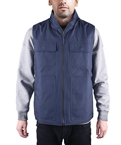 HARD LAND Men's Vests Outerwear Reversible Polar Fleece Vest Outdoor Winter Casual Work Vest Size XL Dark Navy (Reversible Sleeveless Vest)