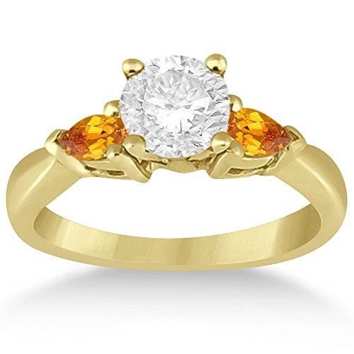 Genuine Three Stone Citrine Engagement Ring Setting Pear Cut Yellow Gemstone 14k Yellow Gold 1/2ct