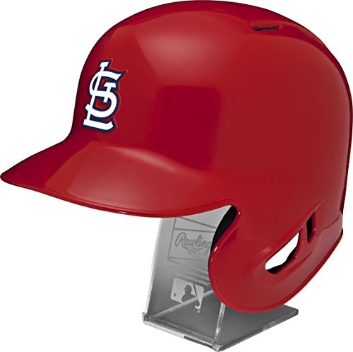 Rawlings MLB St. Louis Cardinals Replica Batting Helmet with Engraved Stand, Official Size, (Cardinal Batting Helmet)