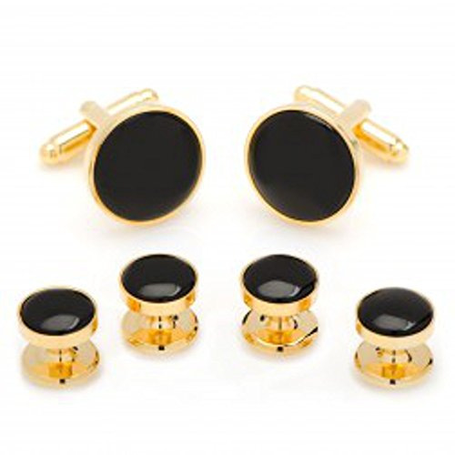 Ox & Bull Formal Onyx & Gold Tuxedo Set Pair of Cufflinks and Set of Four Studs