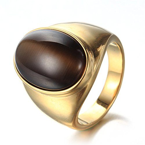 Cat Eye Gemstone Ring (PMTIER Men's Women's 316l Stainless Steel Oval Cat's Eye Gemstone Rings Gold-Plated Size 7 (Brown))