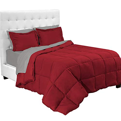 Bare Home 7-Piece Bed-In-A-Bag - Queen (Comforter Set: Red, Sheet Set: Light Grey)