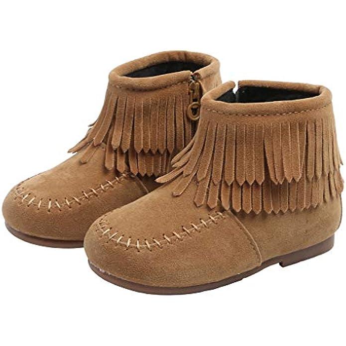 Little Girls Tassel Suede Ankle Boots Side Zipper Short Booties Winter Snow Boot