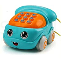 SaleON Friction Powered Pull Along Musical Phone Car Toy for Kids , Electronic Music Multifunctional Cell Phone Telephone Car Toy (Assorted-Colors) - 1307